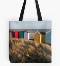 Beach huts in the afternoon Tote Bag