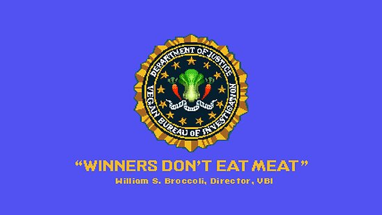 Winners Don't Eat Meat - Scott Pilgrim inspired Vegan Police Logo (blue screen version) by AdrienneOrpheus