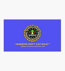 Winners Don't Eat Meat - Scott Pilgrim inspired Vegan Police Logo (blue screen version) Photographic Print