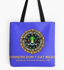 Winners Don't Eat Meat - Scott Pilgrim inspired Vegan Police Logo (blue screen version) Tote Bag