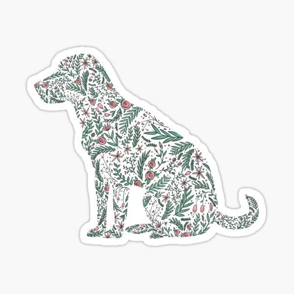 Dog Floral Silhouette Sticker