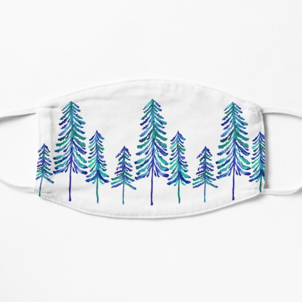 Pine Trees – Navy & Turquoise Palette Flat Mask