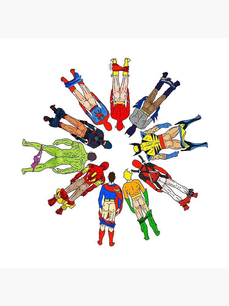 Superhero Butts Circular by notsniwart