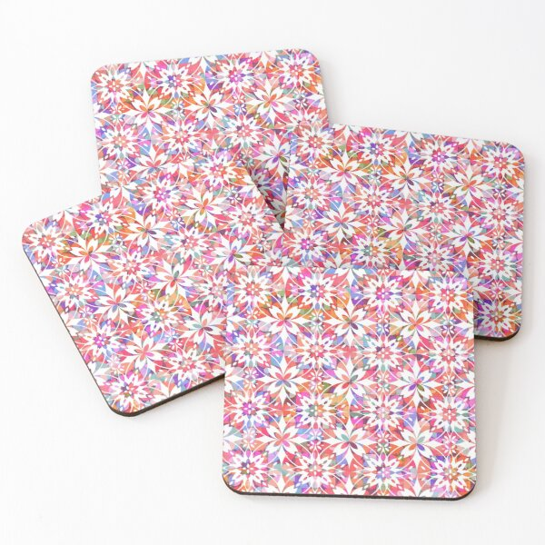 Mediterranean Tiles N.02 / Colorful Summer Festival Coasters (Set of 4)
