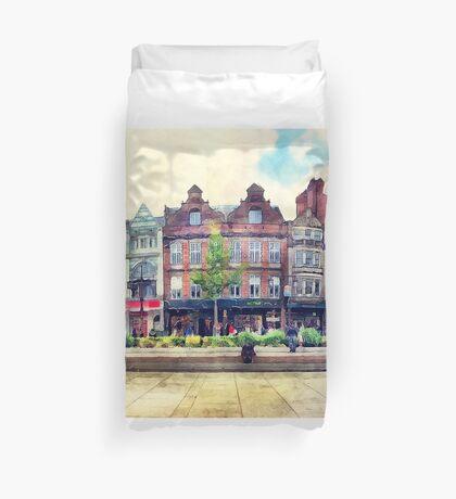 Nottingham panorama city watercolor Duvet Cover