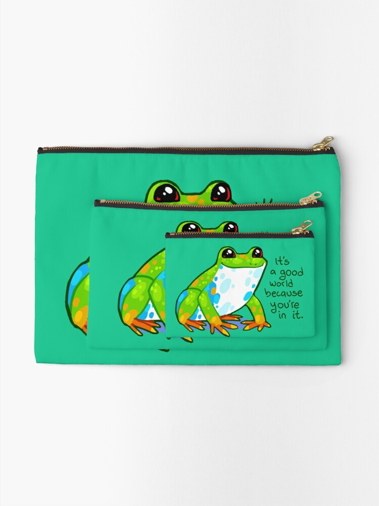"""Alternate view of """"It's a good world because you're in it"""" Frog Zipper Pouch"""