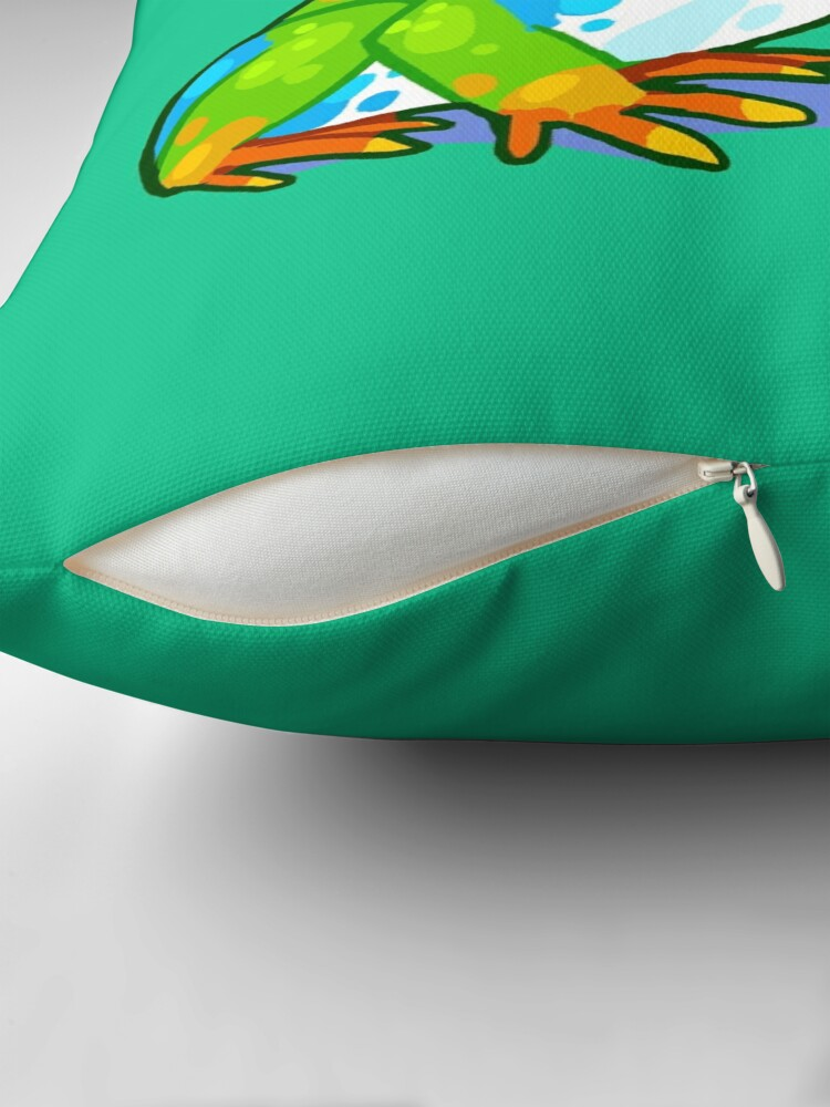 """Alternate view of """"It's a good world because you're in it"""" Frog Throw Pillow"""