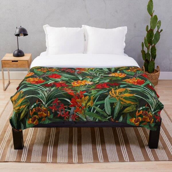 Vintage Tropical Jungle Garden Black Throw Blanket