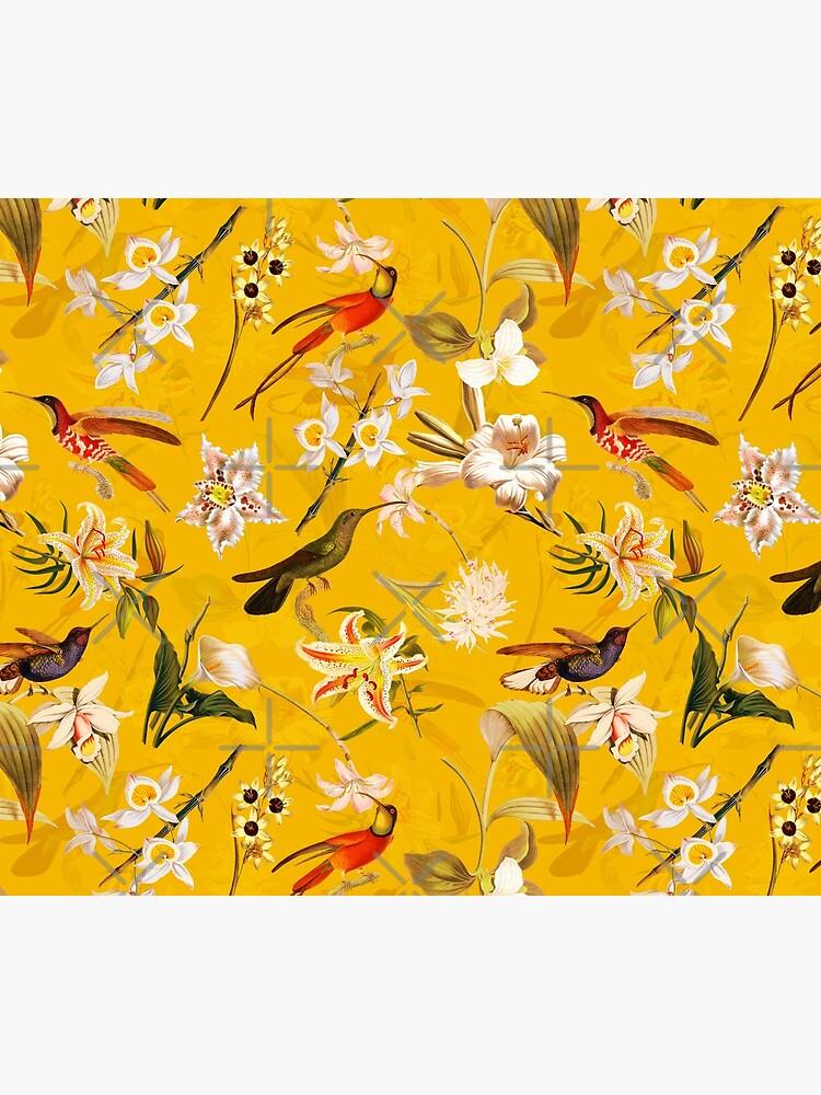 Pierre Joseph Redoute vintage flowers and hummingbirds nostalgic seamless yellow pattern by UtArt