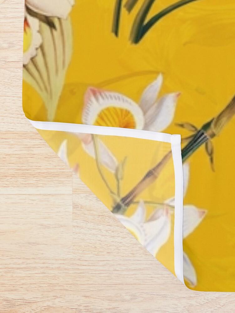 Alternate view of Pierre Joseph Redoute vintage flowers and hummingbirds nostalgic seamless yellow pattern Shower Curtain