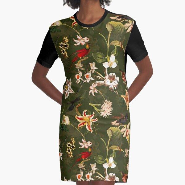 Pierre Joseph Redoute vintage flowers and hummingbirds nostalgic seamless safari green pattern Graphic T-Shirt Dress