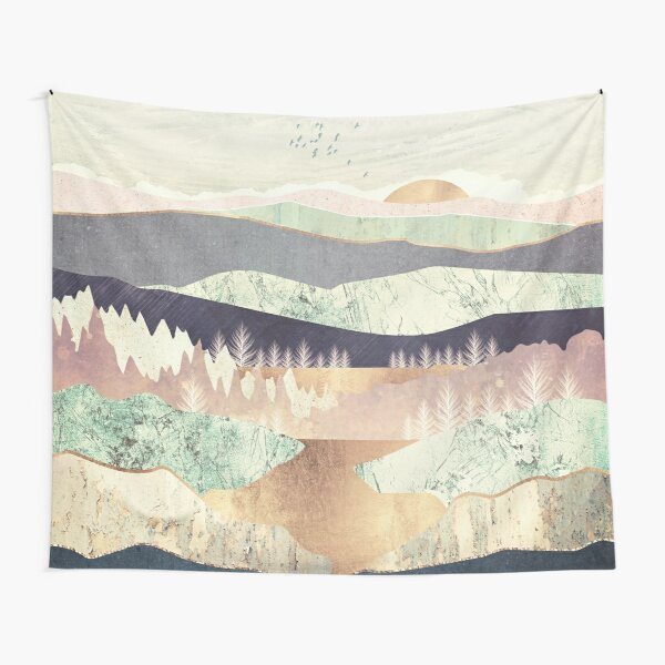 Golden Spring Reflection Tapestry