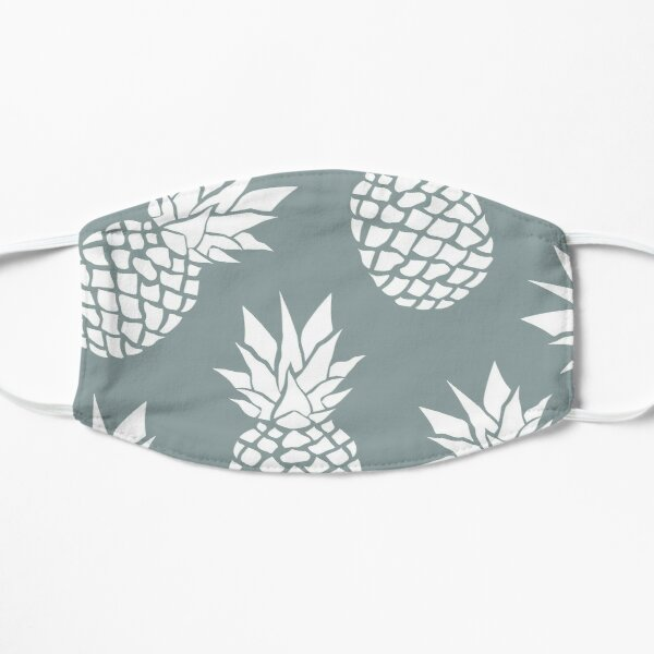 Hawaii Tropical Pineapple, Teal and White Mask