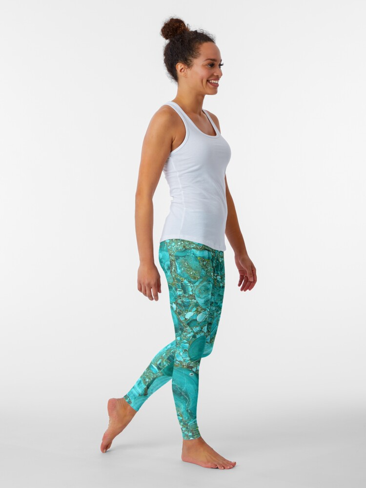 Alternate view of  Marble Turquoise Blue Gold Leggings