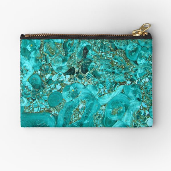 Marble Turquoise Blue Gold Zipper Pouch