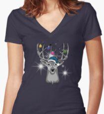 Christmas deer Women's Fitted V-Neck T-Shirt