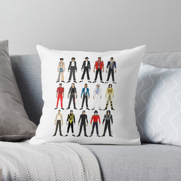 Outfits of King Jackson Pop Music Fashion Throw Pillow