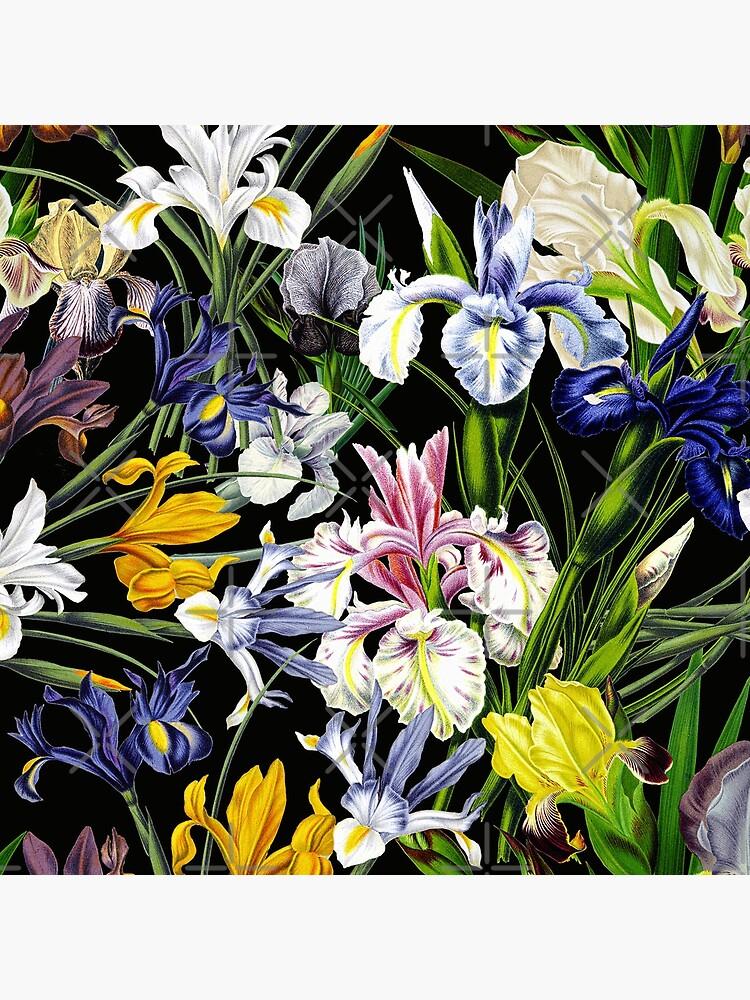 Victorian Iris Flower Pattern on Black by UtArt