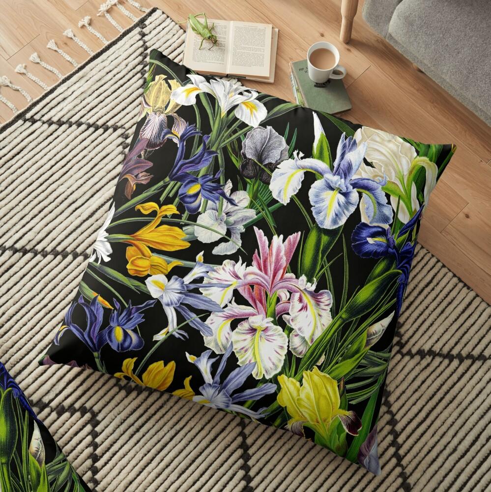 Victorian Iris Flower Pattern on Black Floor Pillow