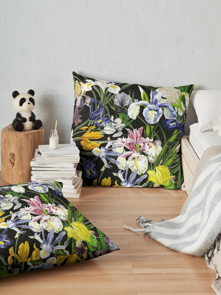 Alternate view of Victorian Iris Flower Pattern on Black Floor Pillow