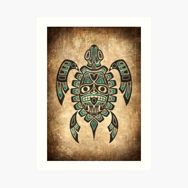 Teal Blue and Black Haida Spirit Sea Turtle Art Print