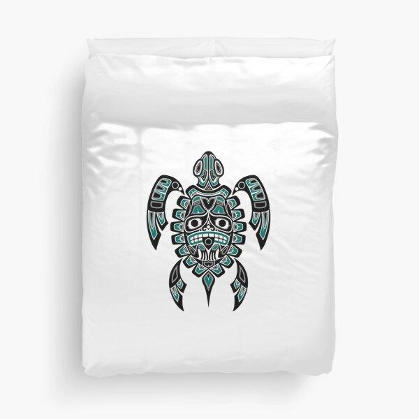 Teal Blue and Black Haida Spirit Sea Turtle Duvet Cover