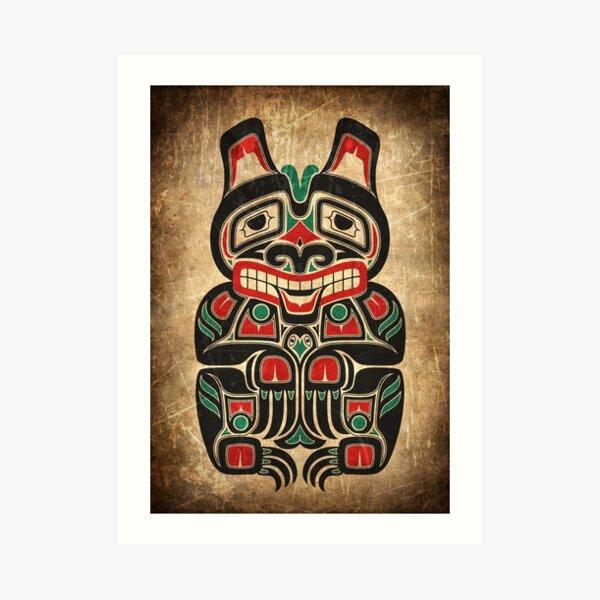 Red and Green Haida Spirit Bear Art Print