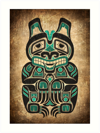 Teal Blue and Black Haida Spirit Bear by jeff bartels
