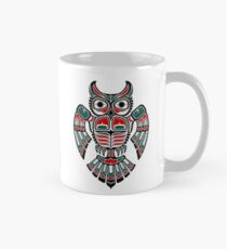 Red and Teal Blue Haida Spirit Owl Classic Mug
