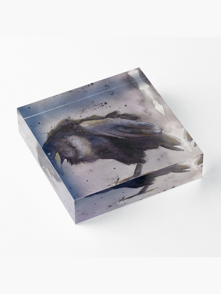 Alternate view of Nevermore - Watercolor Raven  Acrylic Block