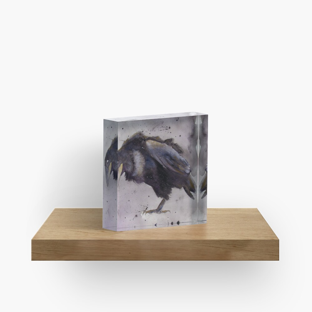 Nevermore - Watercolor Raven  Acrylic Block