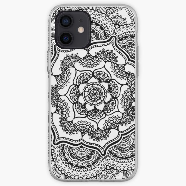 Spring Lotus || Abstract || Black and White iPhone Soft Case