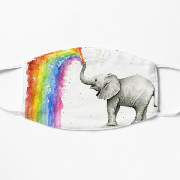 Baby Elephant Spraying Rainbow Flat Mask