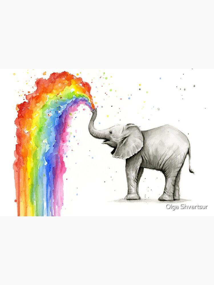 Baby Elephant Spraying Rainbow by olga-shvartsur