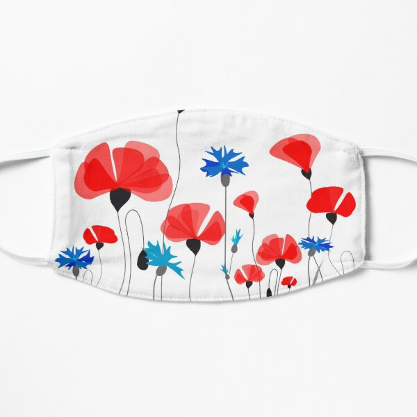 Poppies & Cornflowers #RBSTAYCAY #Redbubble Small Mask