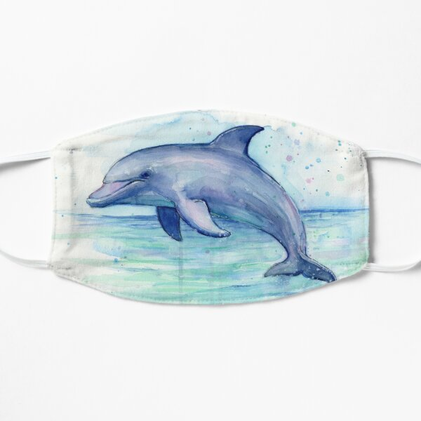 Dolphin Watercolor Flat Mask