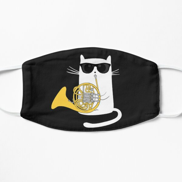 Jazz Cat Playing French Horn - Cool Smooth T-Shirt Mask