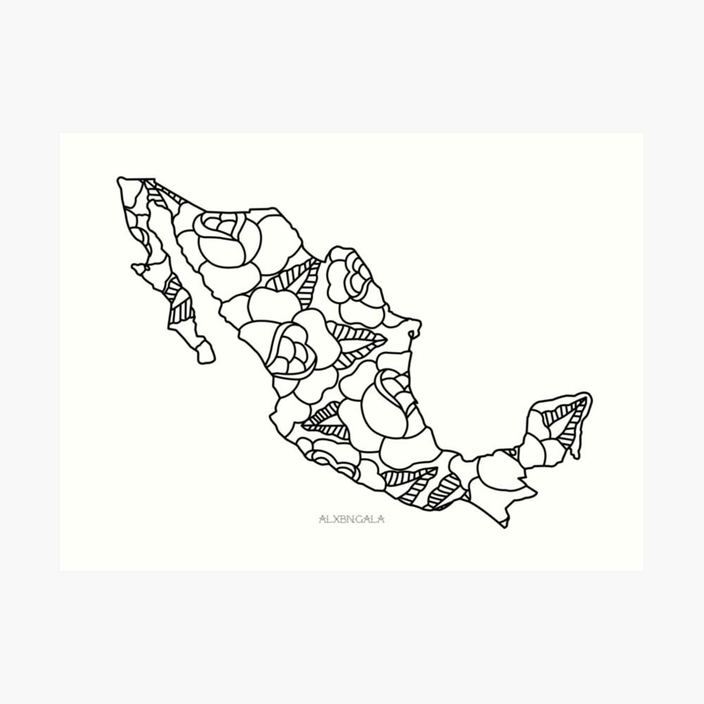 Mexiko Karte Umriss.Mexiko Karte Schwarzer Umriss Kunstdruck