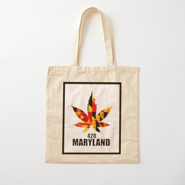 Maryland Flag Tote Bag RICH COTTON CANVAS Maryland Bags Black