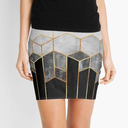 Charcoal Hexagons Mini Skirt