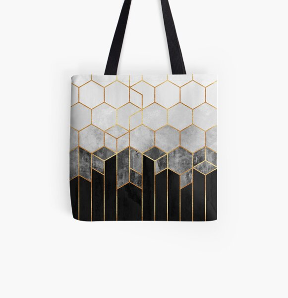 Charcoal Hexagons All Over Print Tote Bag