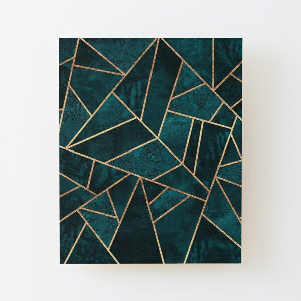 Deep Teal Stone Wood Mounted Print