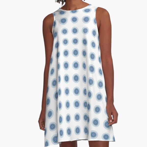 Blue Gray Lace Doiley A-Line Dress