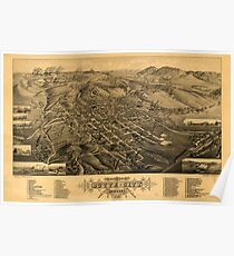 Panoramic Maps Bird's eye view of Butte-City Montana county seat of Silver Bow Co 1884 Poster