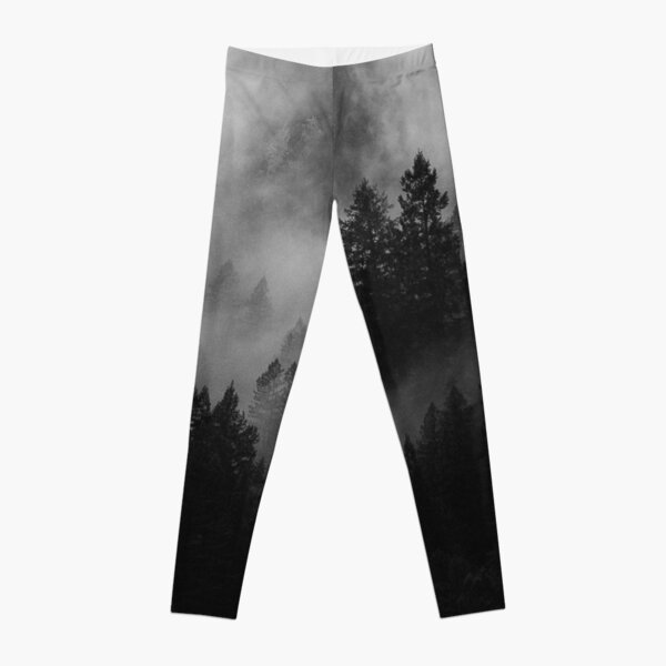 Foggy Forest Morning and Mystery Nature Woodland Landscape Leggings