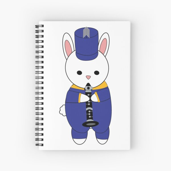 Marching Band Rabbit Bunny Clarinet Blue Yellow Gold Spiral Notebook