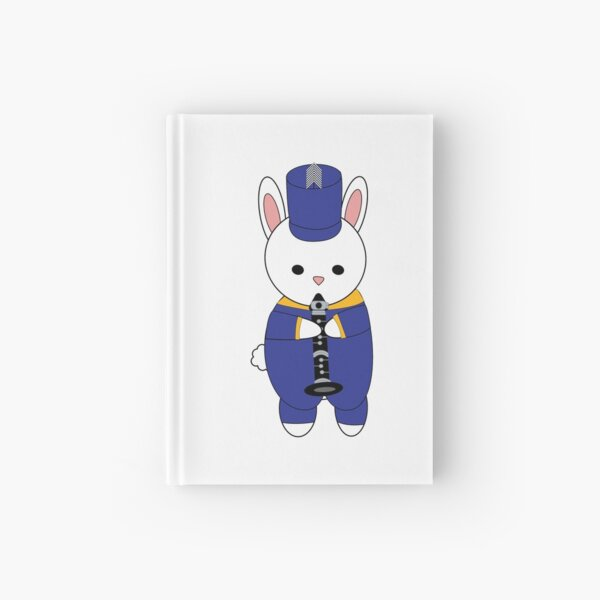 Marching Band Rabbit Bunny Clarinet Blue Yellow Gold Hardcover Journal