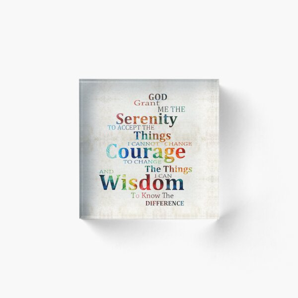 Colorful Serenity Prayer by Sharon Cummings Acrylic Block