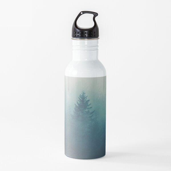 Foggy Forest Morning in Mystery Nature Woodland Landscape Water Bottle