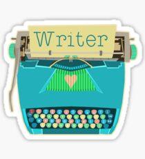 Retro Typewriter for Writers Mid-Century Modern Aqua Blue Sticker